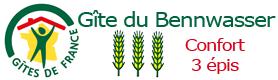 label 3 épis Du Bennwasser Gîte de France